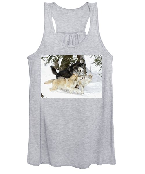 Playful Wolves Winter Style Women's Tank Top