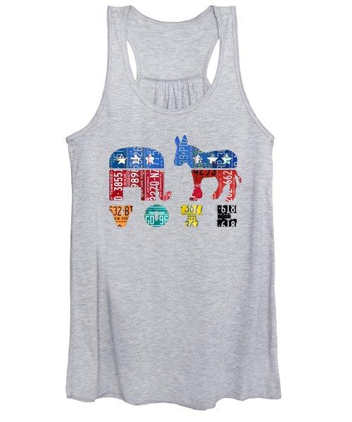 Political Party Election Vote Republican Vs Democrat Recycled Vintage Patriotic License Plate Art Women's Tank Top