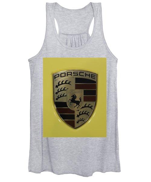 Porsche Emblem On Racing Yellow Women's Tank Top