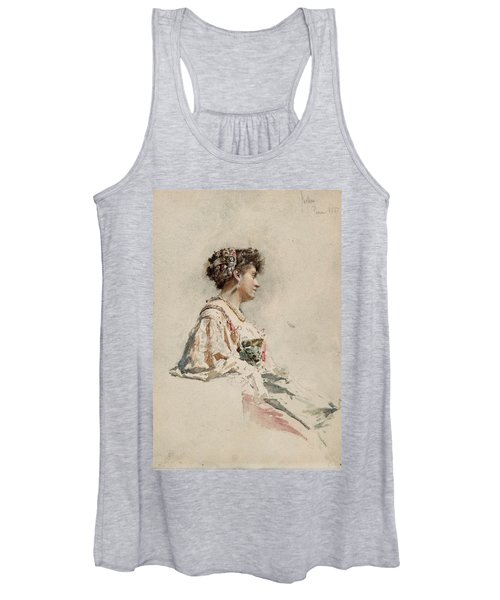Portrait Of A Young Woman Women's Tank Top