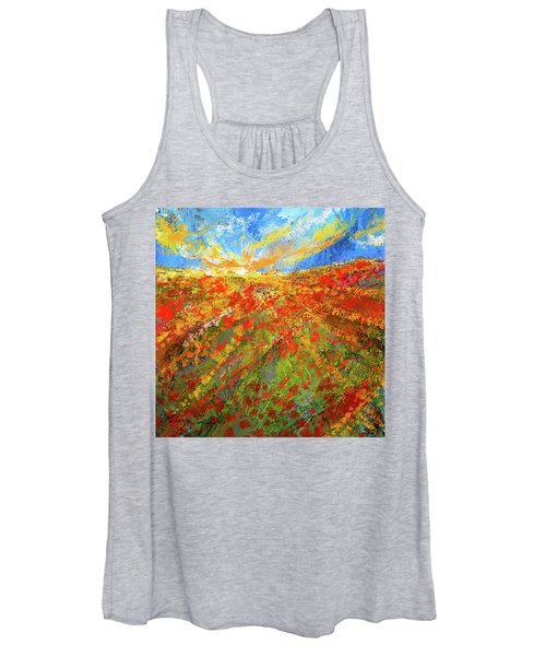Prairie Sunrise - Poppies Art Women's Tank Top