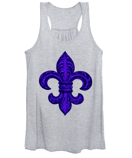Purple French Fleur De Lys, Floral Swirls Women's Tank Top