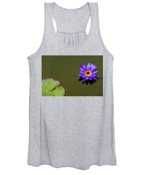 Purple Lily With Tiny Fish Women's Tank Top