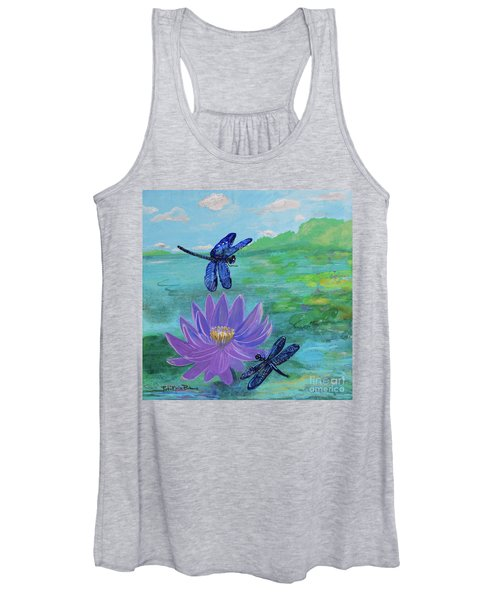 Purple Water Lily And Dragonflies Women's Tank Top