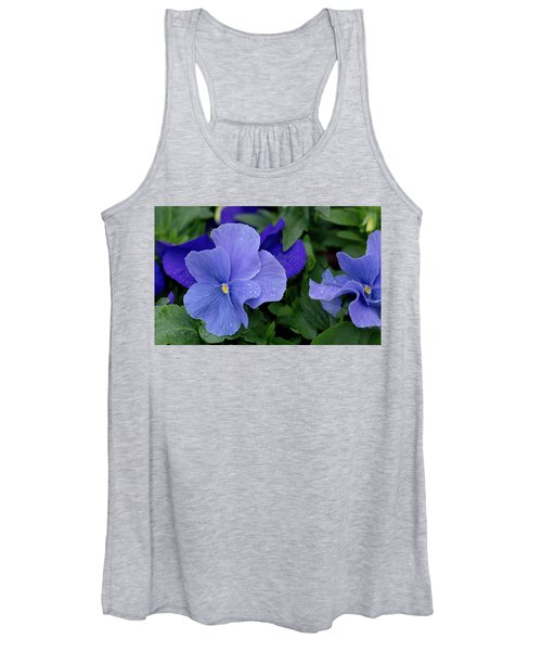Raindrops On Purple Pansy Women's Tank Top