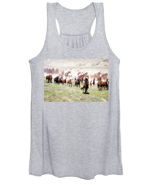 Raising Dust On The Great American Horse Drive In Maybell Colorado Women's Tank Top