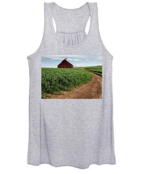 Women's Tank Top featuring the photograph Red Barn In Green Field by Bob Cournoyer
