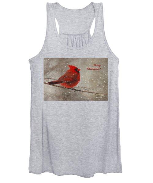 Red Bird In Snow Christmas Card Women's Tank Top