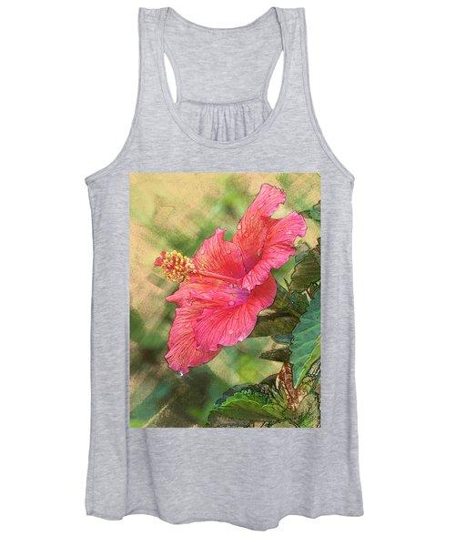 Red Hibiscus Women's Tank Top