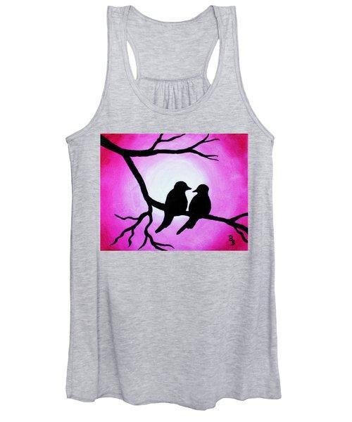 Red Love Birds Silhouette Women's Tank Top