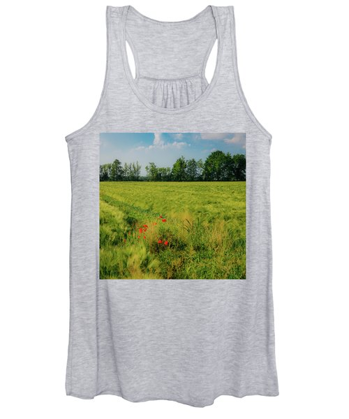 Red Poppies On A Green Wheat Field Women's Tank Top