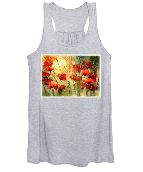 Red Poppies Watercolor Women's Tank Top