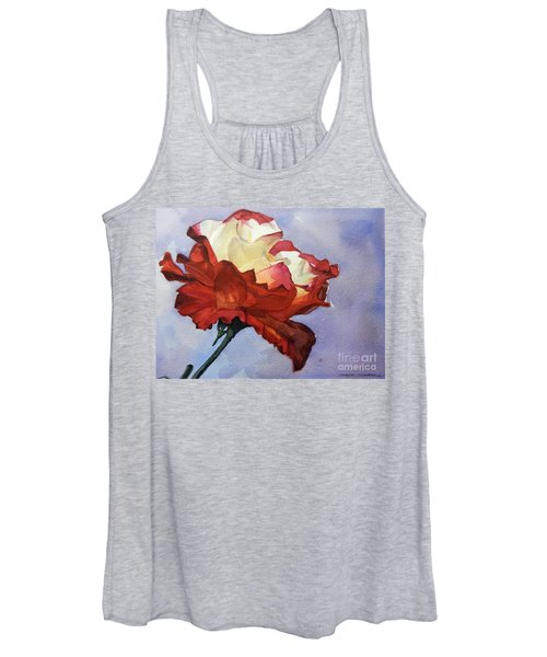 Watercolor Of A Red And White Rose On Blue Field Women's Tank Top