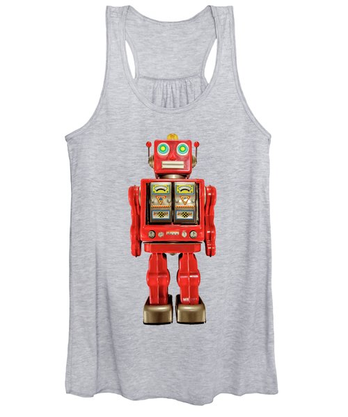 Red Tin Toy Robot Pattern Women's Tank Top