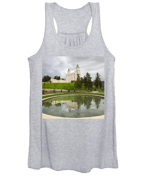 Reflections Of The Manti Temple At Pioneer Heritage Gardens Women's Tank Top