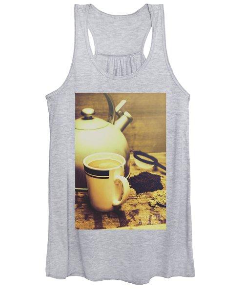 Retro Kettle With The Mug Of Tea Women's Tank Top