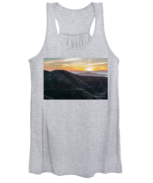 Road On The Edge Of The Mountain With Sunrise In The Background Women's Tank Top
