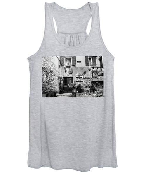 Rovinj Old Town Courtyard In Black And White, Rovinj Croatia Women's Tank Top