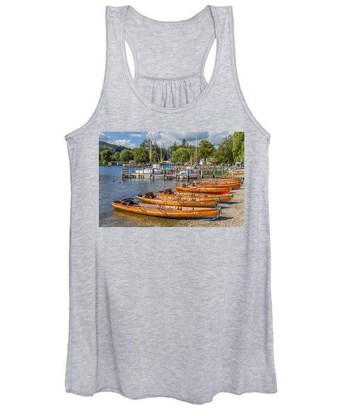 Rowing Boats In Ambleside On Lake Windermere Women's Tank Top
