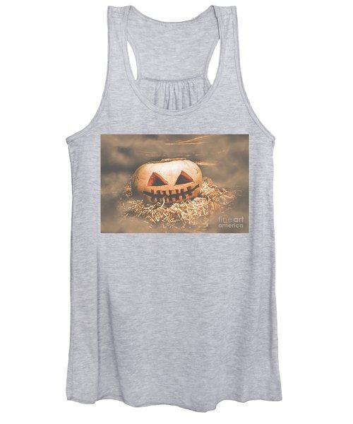 Rustic Barn Pumpkin Head In Horror Fog Women's Tank Top