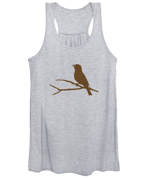 Rustic Brown Bird Silhouette Women's Tank Top