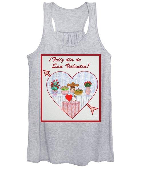 Ruthiemoo Heart Flores Feliz Dia De San Valentin Women's Tank Top