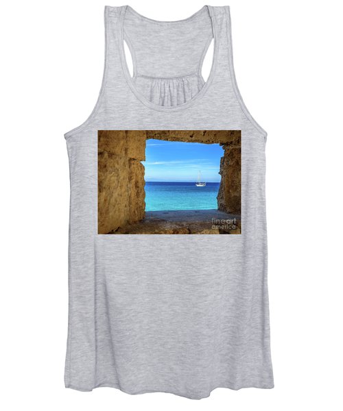 Sailboat Through The Old Stone Walls Of Rhodes, Greece Women's Tank Top
