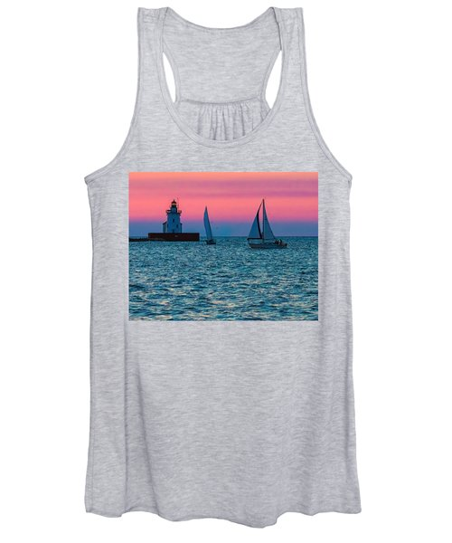 Sailing At The Cleveland Lighthouse  Women's Tank Top