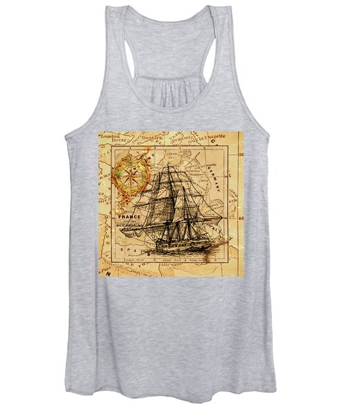Sailing Ship Map Women's Tank Top