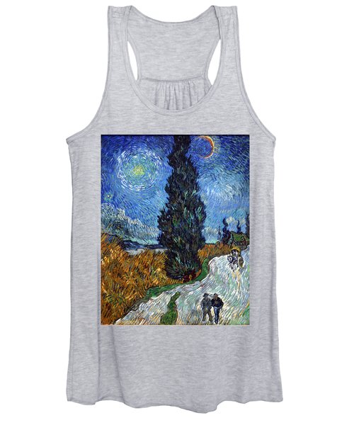 Saint-remy Road With Cypress And Star Women's Tank Top