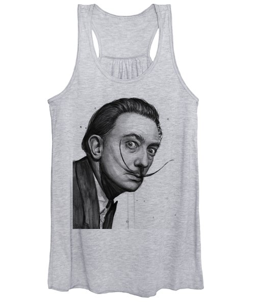 Salvador Dali Portrait Black And White Watercolor Women's Tank Top