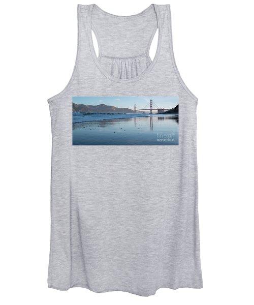 San Francisco Golden Gate Bridge Reflected On Baker's Beach Wet  Women's Tank Top
