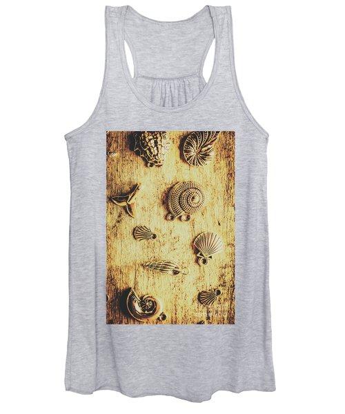 Seashell Shaped Pendants On Wooden Background Women's Tank Top