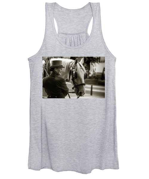 Sepia Carriage Horse With Handler Women's Tank Top