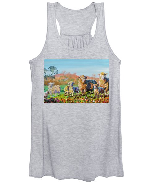 Sheep And Lambs In Devon Landscape Bright Colors Women's Tank Top