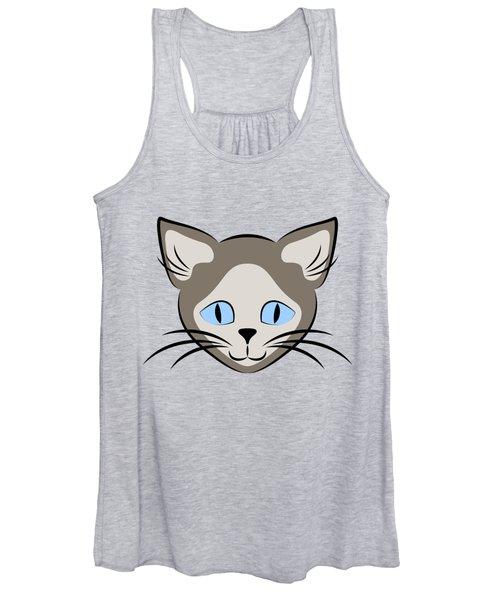 Siamese Cat Face With Blue Eyes Dark Women's Tank Top