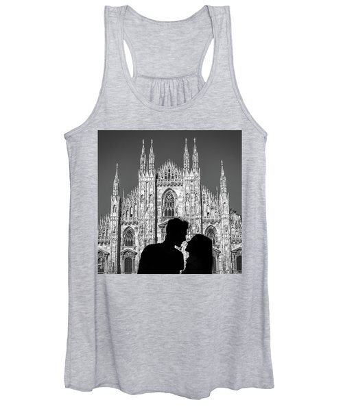 Silhouette Of Young Couple Kissing In Front Of Milan's Duomo Cathedral Women's Tank Top