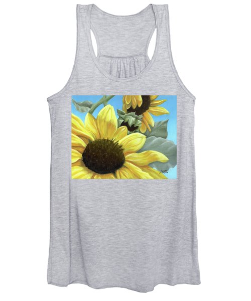 Silver Leaf Sunflower Growing To The Sun Women's Tank Top