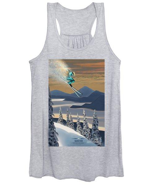Silver Star Ski Poster Women's Tank Top