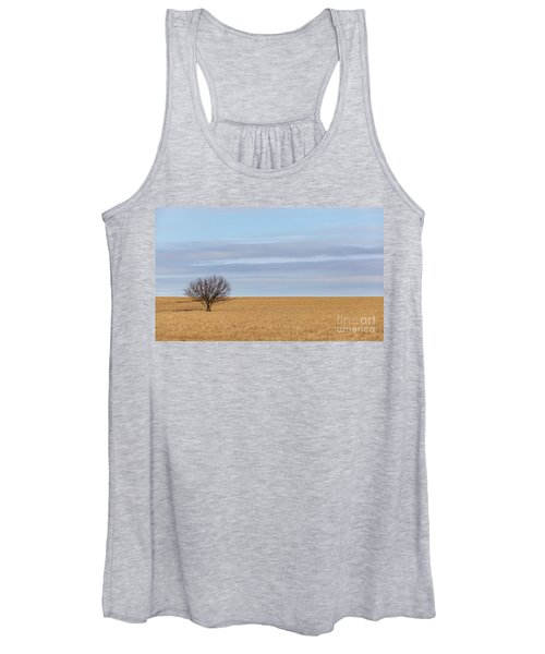 Single Tree In Large Field With Cloudy Skies Women's Tank Top