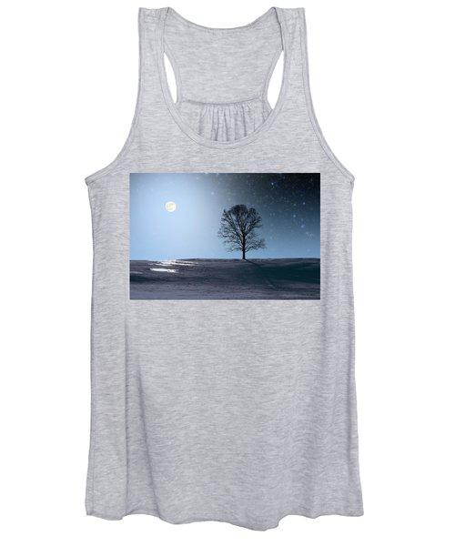 Single Tree In Moonlight Women's Tank Top