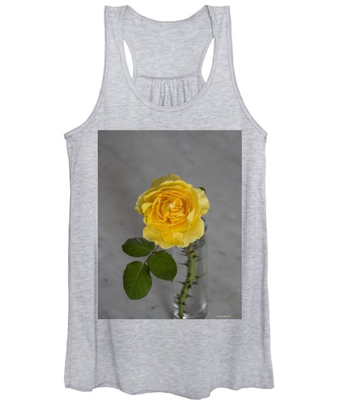 Single Yellow Rose With Thorns Women's Tank Top