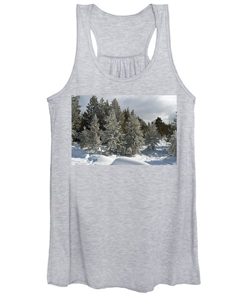 Snow And Ice Covered Evergreens At Sunset Lake  Women's Tank Top
