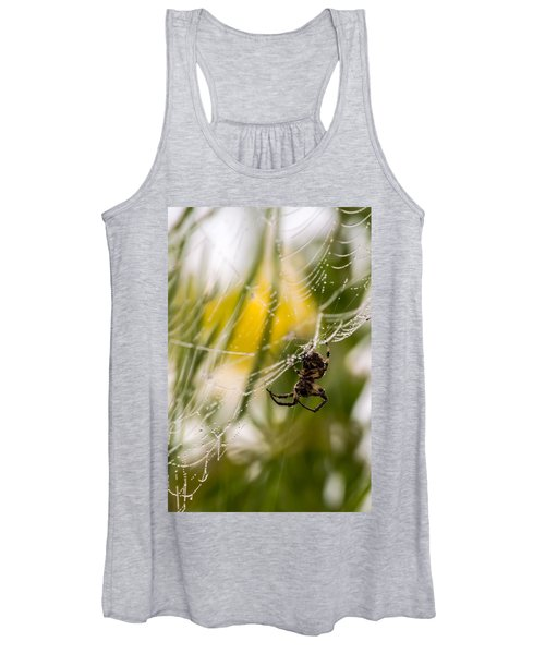 Spider And Spider Web With Dew Drops 04 Women's Tank Top