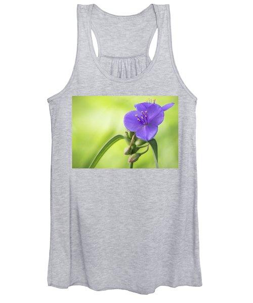 Spiderwort Wildflower - Horizontal Women's Tank Top