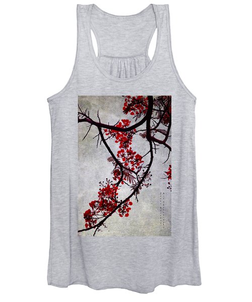 Spring Bloosom In Maldives. Flamboyant Tree II. Japanese Style Women's Tank Top