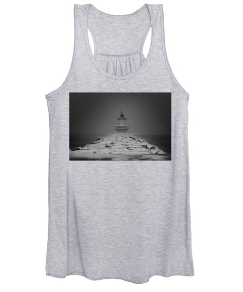 Spring Point Ledge Lighthouse Blizzard In Black N White Women's Tank Top