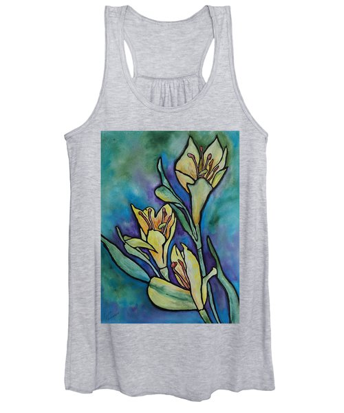 Stained Glass Flowers Women's Tank Top