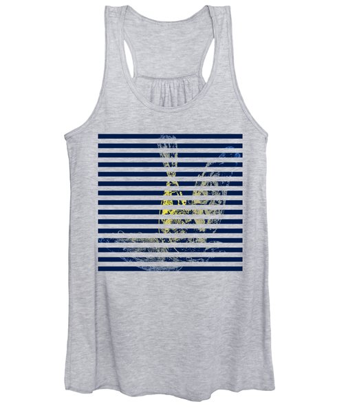 Stamped Bird With Blue Lines Women's Tank Top