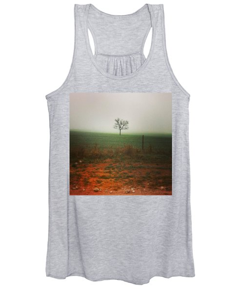 Standing Alone, A Lone Tree In The Fog. Women's Tank Top